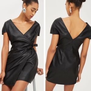 NWOT TOPSHOP | Vegan Leather Wrap Mini Dress Sz 6